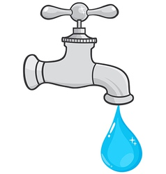 Water Faucet With Water Drop vector image