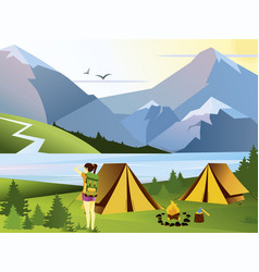 flat camping girl traveler vector image vector image