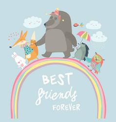 happy animals walking on rainbow vector image vector image