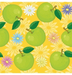 Seamless background flowers and apples vector image vector image