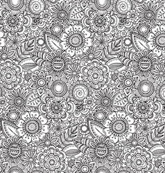 seamless floral pattern with hand drawn fancy vector image vector image