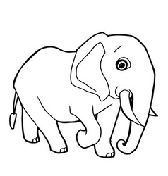Cartoon cute elephant coloring page vector