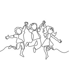 happy jumping children holding hands vector image vector image
