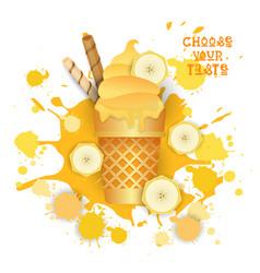 Ice cream banana cone colorful dessert icon choose vector