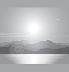 landscape with sunset over sea vector image vector image