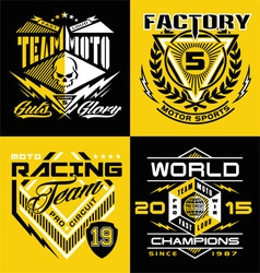 Motocross sports shield emblem set vector image