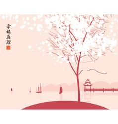 Park lake with boats vector image