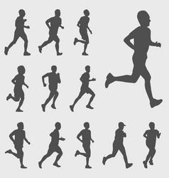 run silhouettes set vector image