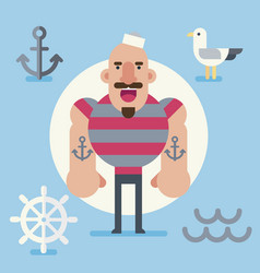 sailor character in minimalist flat style vector image