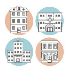 set differents building house business line vector image