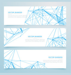 Abstract digital wire mesh headers set of three vector
