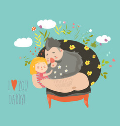 daughter hugging her father vector image vector image