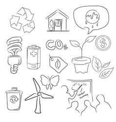 eco green icon set of environment in sketch vector image
