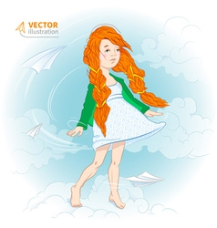 girl with paper plane vector image