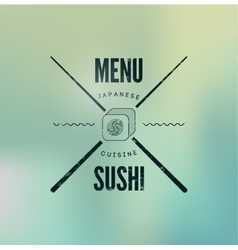 Restaurant vintage menu design for sushi vector image