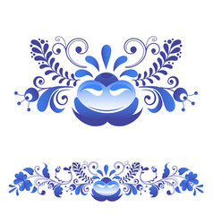 Russian ornaments art gzhel style painted with vector
