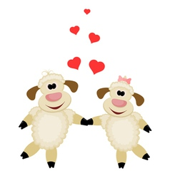 Two cute lamb lovers on a white background vector image