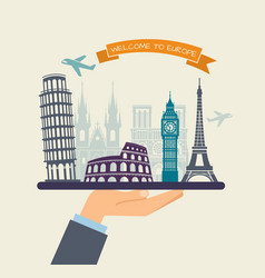 welcome to europe attractions of europe on a tray vector image