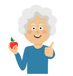 woman holding a red apple giving thumbs up vector image vector image
