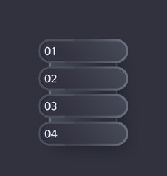 1 2 3 4 steps progress bar design in dark vector