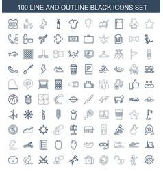 100 black icons vector