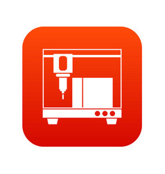3d printer icon digital red vector