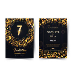 7th years birthday black paper luxury vector