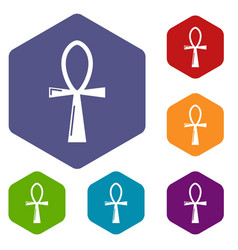 Ancient egyptian cross ankh icons vector