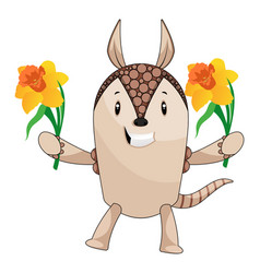 Armadillo with flowers on white background vector