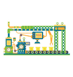 automatic stock line robots technology industrial vector image