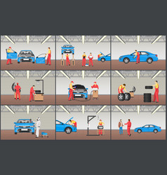 automobile service color set vector image