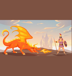 Battle with dragon ancient warrior fighting fire vector