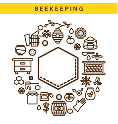 beekeeping line icon label emblem vector image