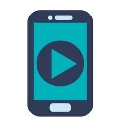 Blue cellphone play icon vector
