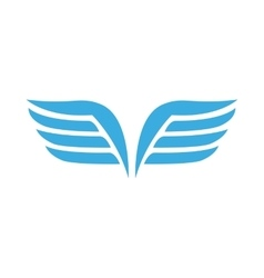 Blue wings with feathers icon simple style vector image
