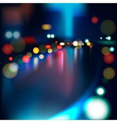 Blurred defocused lights heavy traffic on a wet vector