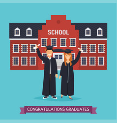 boy and girl graduates school building on a vector image