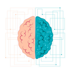 Brain artificial intelligence left and right vector