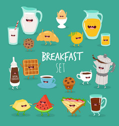 Breakfast orange juice mafin toasts coffee vector
