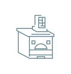 Brick oven linear icon concept brick oven line vector