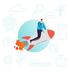 businessman flying on a rocket business startup vector image
