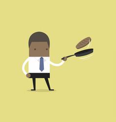 Businessman making fresh pancakes on breakfast vector
