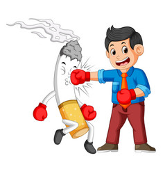 bussinesman boxing with a cigarette vector image