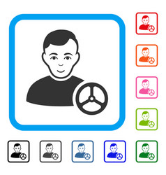 car driver framed smiling icon vector image