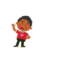 Cartoon character black boy greeting vector