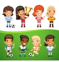 Cartoon women soccer players set vector
