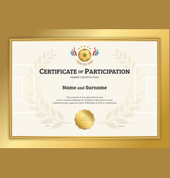certificate template in football sport theme vector image