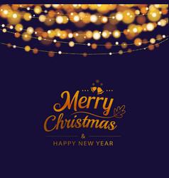 christmas greeting card with bokeh lights vector image