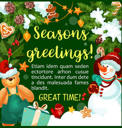 christmas winter holiday season greeting vector image