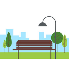 city green park bench street lamp trees vector image
